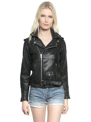 Pelechecoco Recycled Soft Leather Biker Jacket