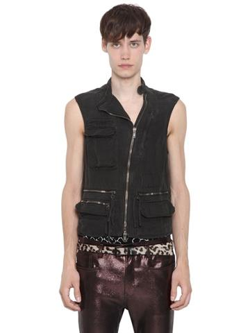 Haider Ackermann Washed Cotton Linen Canvas Cargo Vest