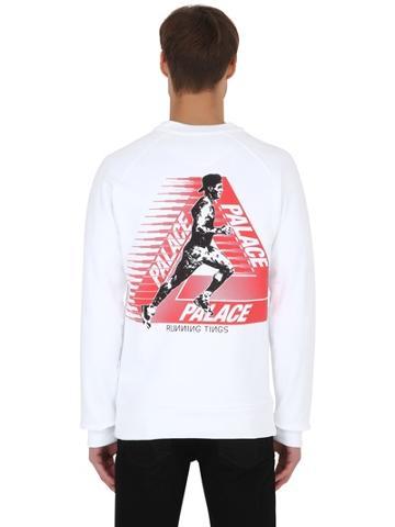 Palace Skateboards Running Crew Cotton Jersey Sweatshirt
