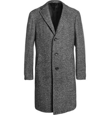 Canali Kei Unstructured Herringbone Wool-blend Overcoat