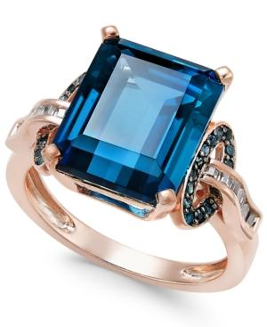 London Blue Topaz (6-5/8 Ct. T.w.) And Diamond (1/4 Ct. T.w.) Ring In 14k Rose Gold