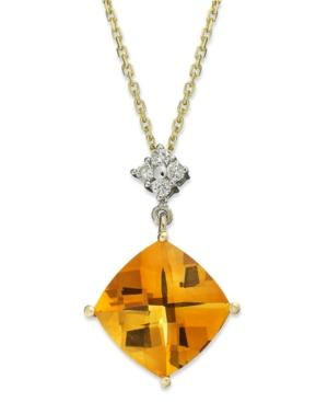 14k Gold Necklace, Citrine (5 Ct. T.w.) And Diamond (1/10 Ct. T.w.) Cushion-cut Pendant