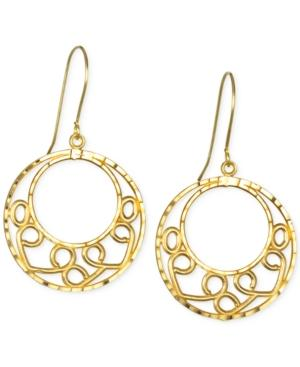 Open Circle Detailed Drop Earrings In 10k Gold