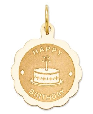 14k Gold Charm, Happy Birthday Charm