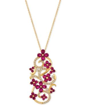 Le Vian Certified Passion Ruby (2-3/4 Ct. T.w.) & Diamond (1/2 Ct. T.w.) Pendant Necklace In 14k Gold