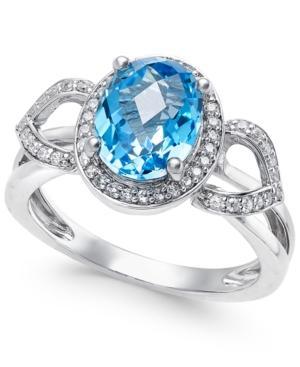 Blue Topaz (2-1/4 Ct. T.w.) And Diamond (1/5 Ct. T.w.) Ring In 14k White Gold