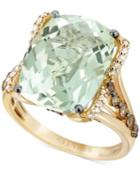 Le Vian Green Amethyst (9-3/4 Ct. T.w.), White Diamond (1/8 Ct. T.w.) And Chocolate Diamond (3/8 Ct. T.w.) Ring In 14k Gold