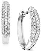 14k White Gold Earrings, Diamond Oval Hoops (1/4 Ct. T.w.)
