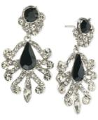 Abs By Allen Schwartz Silver-tone Contrast Crystal Earrings