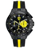 Scuderia Ferrari Watch, Men's Chronograph Race Day Black And Yellow Silicone Strap 44mm 830025