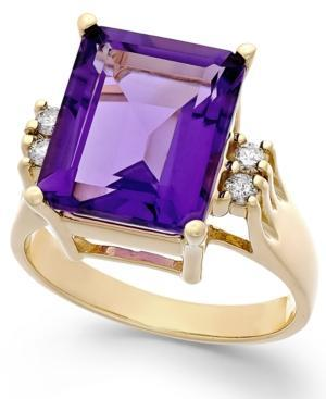 Amethyst (6 Ct. T.w.) And Diamond (1/8 Ct. T.w.) Ring In 14k Gold