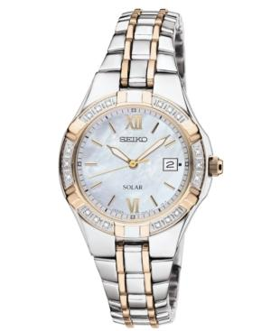 Seiko Watch, Women's Solar Diamond Accent Two Tone Stainless Steel Bracelet 27mm Sut068