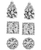 Giani Bernini 3-pc. Set Cubic Zirconia Pave Stud Earrings In Sterling Silver, Created For Macy's