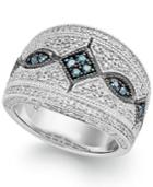 Blue (1/8 Ct. T.w.) And White (1/3 Ct. T.w.) Diamond Ring In Sterling Silver