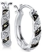 Unwritten Silver-plated Marcasite And Crystal Hoop Earrings