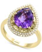 Effy Amethyst (3-1/3 Ct. T.w.) & Diamond (1/4 Ct. T.w.) Ring In 14k Gold