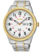 Seiko Men's Solar Two-tone Stainless Steel Bracelet Watch 43mm Sne370