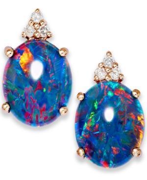 14k Rose Gold Earrings, Opal Triplet And Diamond Accent Earrings
