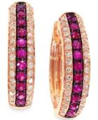 Amore By Effy Ruby (1/3 Ct. T.w.) And Diamond (1/4 Ct. T.w.) Hoop Earrings In 14k Rose Gold