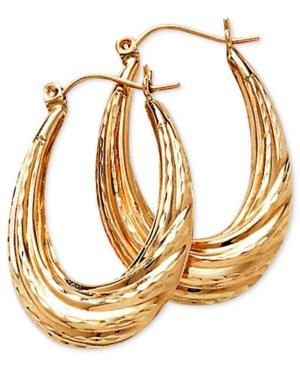 14k Gold Oval Hoop Earrings, 30mm