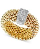 Diamond Mesh-look Statement Ring (1/10 Ct. T.w.) In 14k Gold-plated Sterling Silver