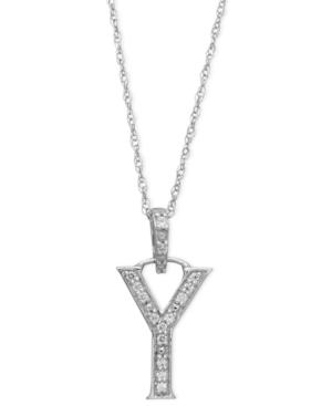 14k White Gold Necklace, Diamond Accent Letter Y