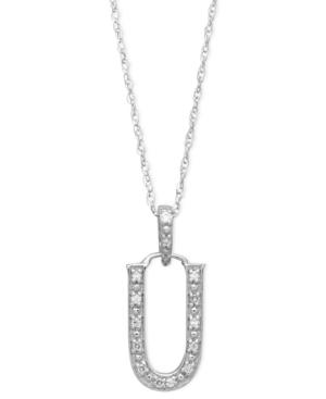 14k White Gold Necklace, Diamond Accent Letter U