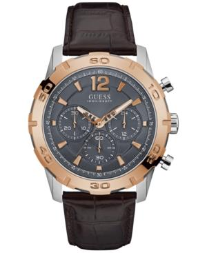 Guess Men's Chronograph Brown Leather Strap Watch 46mm U0864g1