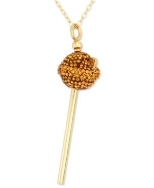 Sis By Simone I Smith 18k Gold Over Sterling Silver Necklace, Yellow Crystal Mini Lollipop Pendant