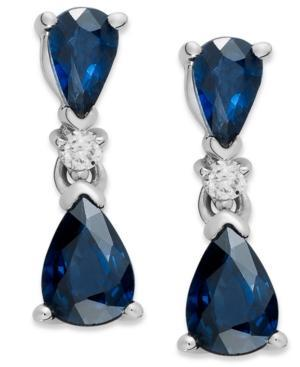 14k White Gold Earrings, Sapphire (1-5/8 Ct. T.w.) And Diamond Accent Drop Earrings