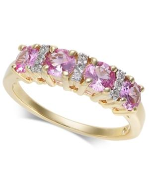 Pink Sapphire (1-1/3 Ct. T.w.) & Diamond (1/10 Ct. T.w.) Ring In 14k Gold
