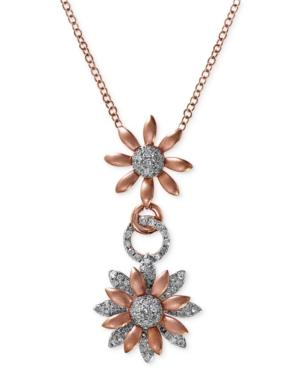 Effy Diamond Flower Pendant Necklace (1/2 Ct. T.w.) In 14k White And Rose Gold