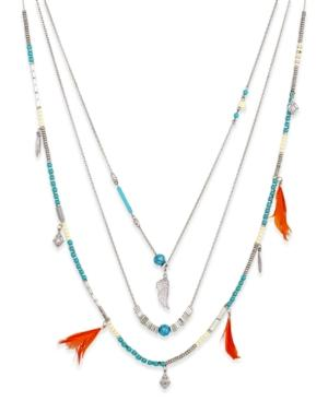 Silver-tone Layered Feather And Bead Necklace
