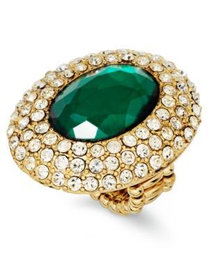 Inc International Concepts Ring, Gold-tone Green Cabochon And Crystal Pave Wide Oval Ring