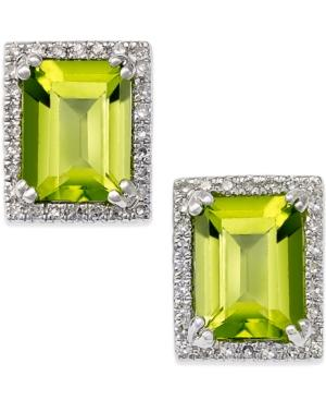 Peridot (3 Ct. T.w.) And Diamond (1/5 Ct. T.w.) Stud Earrings In 14k White Gold