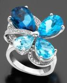 14k White Gold Ring, Blue Topaz (14-1/2 Ct. T.w.) And Diamond (1/3 Ct. T.w.)