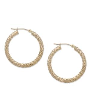 14k Gold Earrings, Diamond Cut Pierced Hoop Earrings