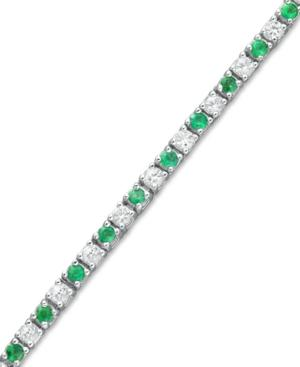 Sterling Silver Bracelet, Emerald (2 Ct. T.w.) And White Sapphire (2-1/2 Ct. T.w.) Bracelet