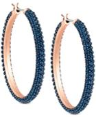 Swarovski Two-tone Blue Crystal Hoop Earrings