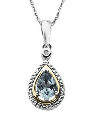 14k Gold And Sterling Silver Necklace, Aquamarine (5/8 Ct. T.w.) And Diamond Accent Teardrop Pendant