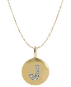 14k Gold Necklace, Diamond Accent Letter J Disk Pendant