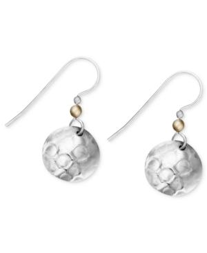 Jody Coyote Silver-plated Earrings, Hammered Disc Drop Earrings