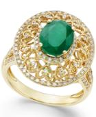 Emerald (1-1/2 Ct. T.w.) And Diamond (1/2 Ct. T.w.) Antique Ring In 14k Gold