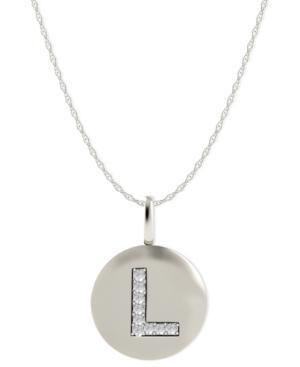 14k White Gold Necklace, Diamond Accent Letter L Disk Pendant