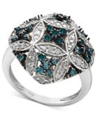 Diamond Ring, Sterling Silver Blue And White Diamond Quilt Ring (1 Ct. T.w.)