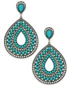Silver-tone Turquoise-look Mosaic Teardrop Earrings
