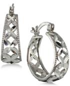 Giani Bernini Sterling Silver Flower Hoop Earrings, Only At Macy's