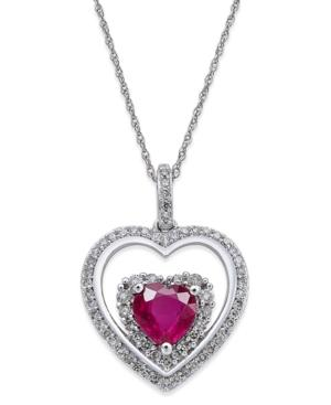 Ruby (1-1/3 Ct. T.w.) And Diamond (1/3 Ct. T.w.) Heart Pendant Necklace In 14k White Gold