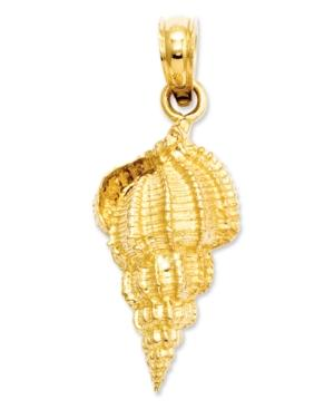 14k Gold Charm, Conch Shell Charm