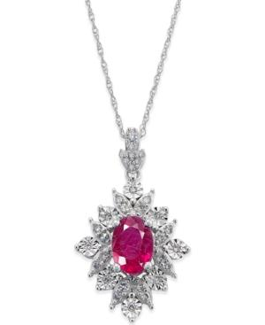 Ruby (1 Ct. T.w.) And Diamond (1/5 Ct. T.w.) Pendant Necklace In 14k White Gold